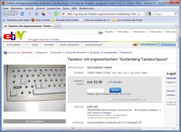 EbayVersteigerung Frhrvuz Guttenberg Tastatur