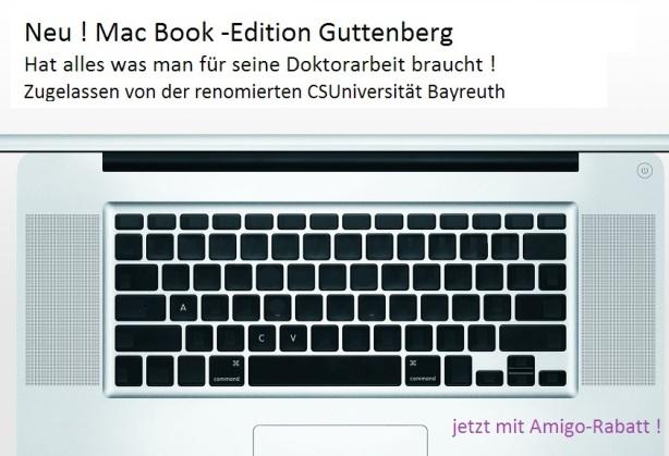 MacBook-edition GuttenbergAlles was man BrauchtZuglvd renom.CSUniversität Bayreuth