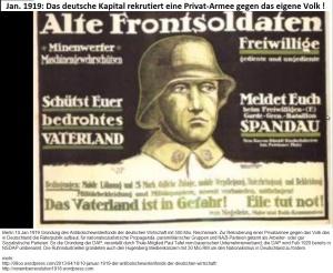 Jan1919-Das deutsche Kapital rekrutiert eine Privat-Armee gegen das eigene Volk