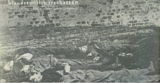 standrechtlich von Freikorps -der Privatarmee des deutschen Kapitals - erschossene Berliner Siehe AntibolschewistenfondsKlein